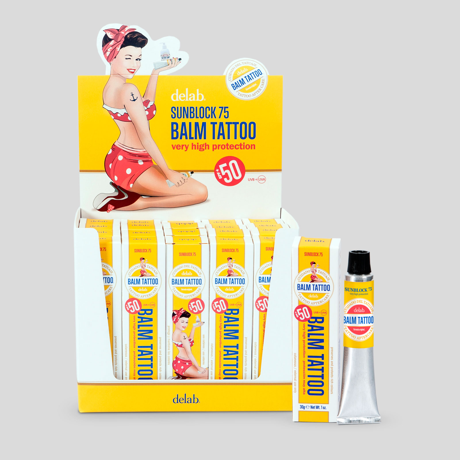 Expositor 20 uds crema solar 30 grs delabcare for Best sunblock for tattoos